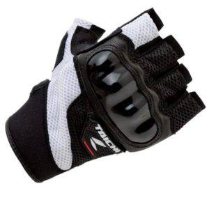 RS TAICHI PRO-TECH HALF FINGER MESH GLOVE RSTT02 BLACK WHITE