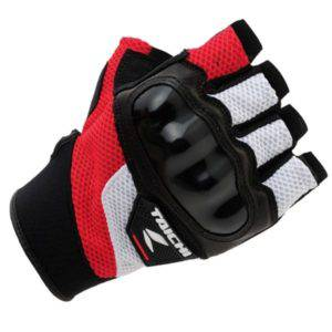 RS TAICHI PRO-TECH HALF FINGER MESH GLOVE RSTT02 WHITE RED