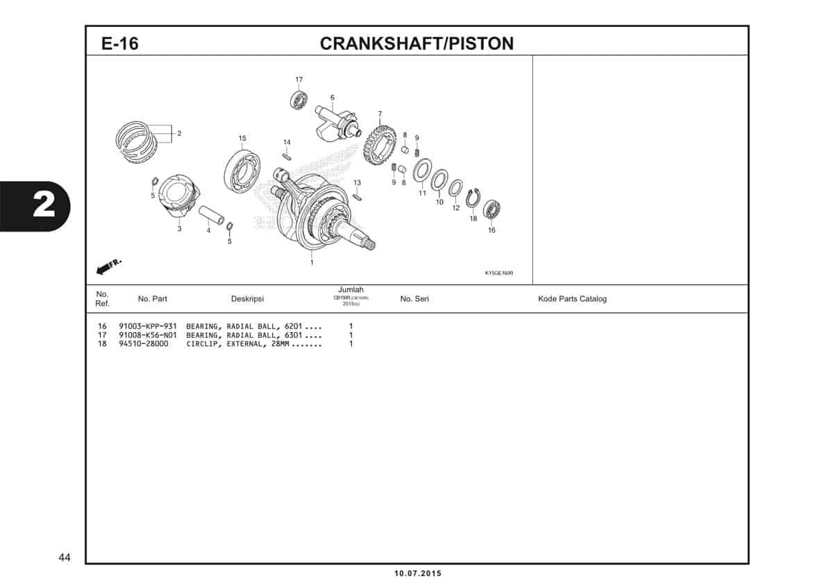 E16 Crankshaft Piston 2