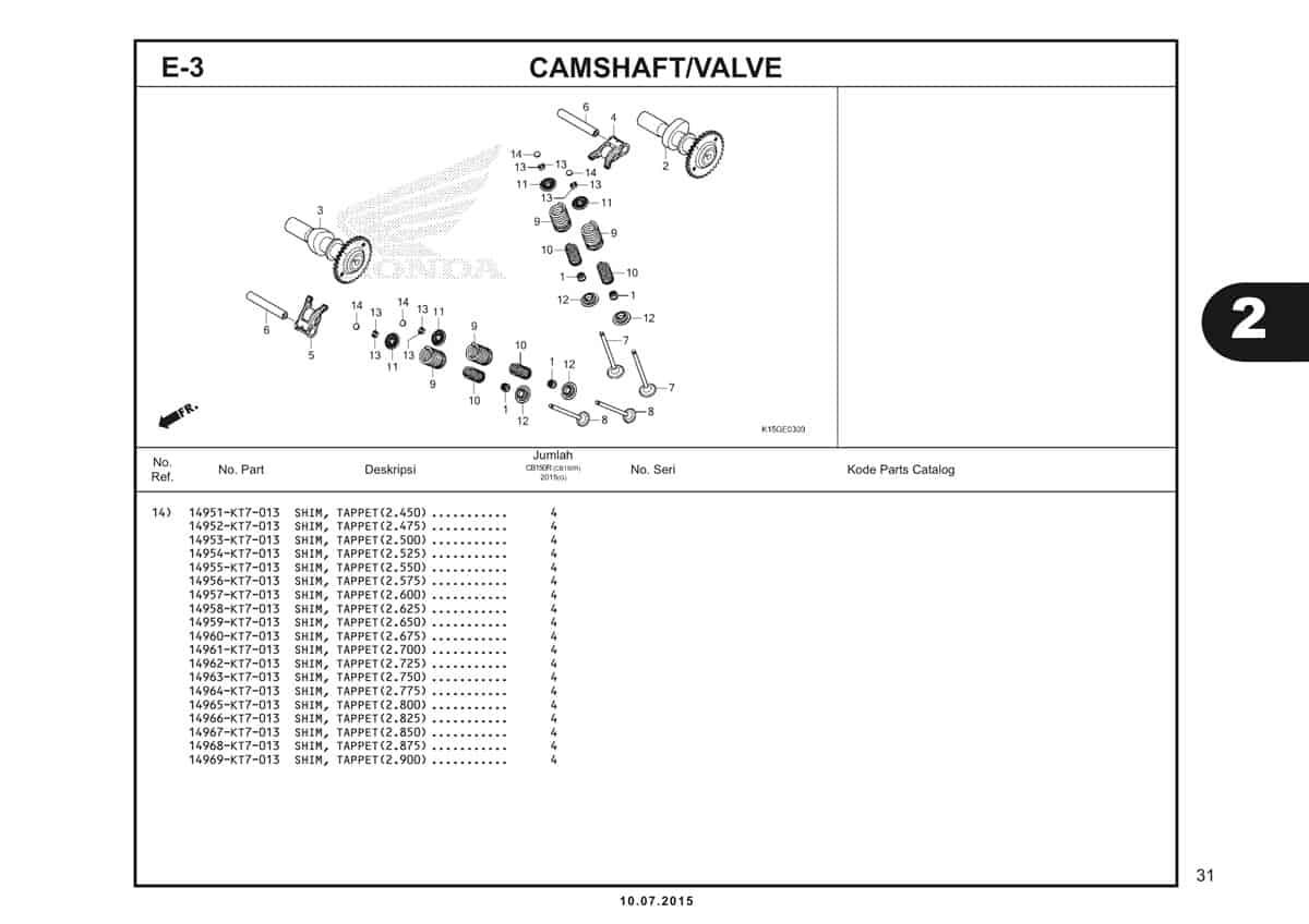 E3 Camshaft Valve 3