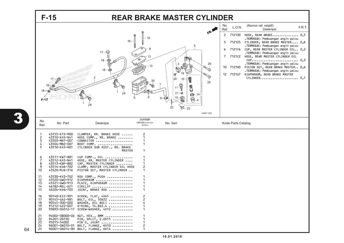 f15 rear brake master cylinder - 1