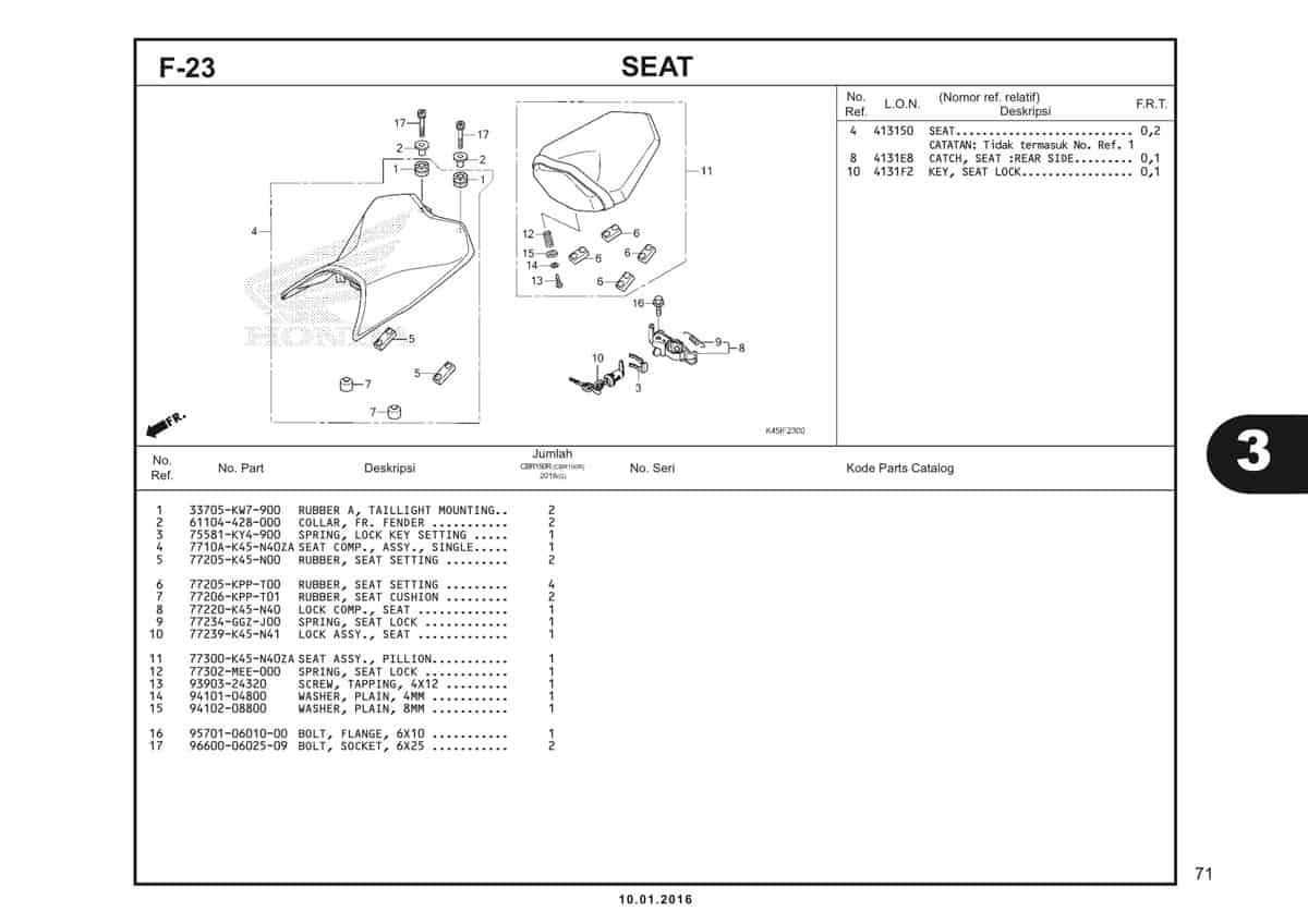 f23 seat
