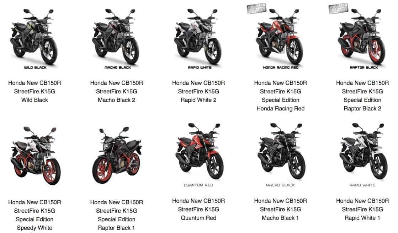 honda new cb150r streetfire k15g pilihan model warna