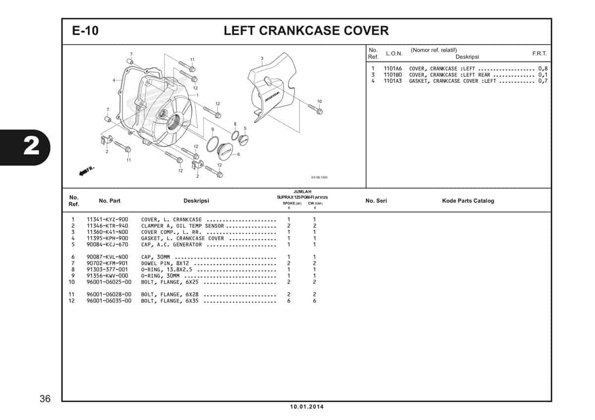 E10 Left Crankcase Cover