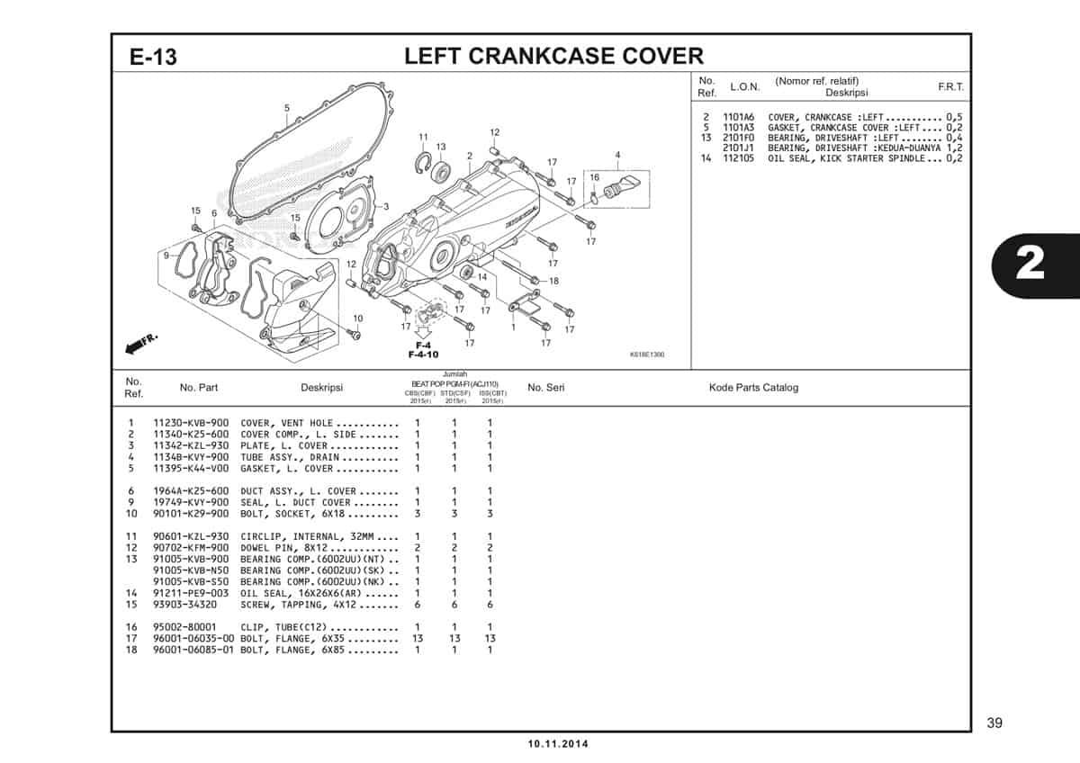 E13 Left Crankcase Cover