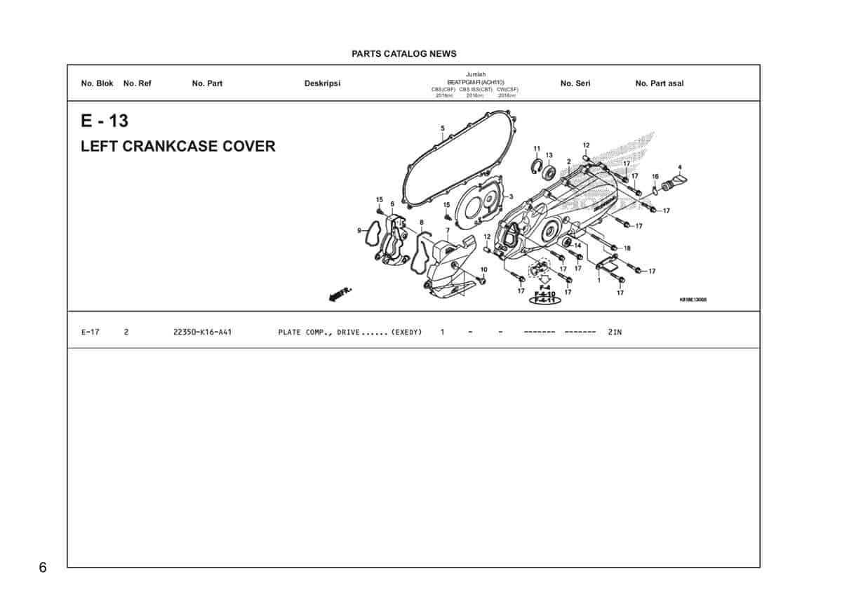 E13 Left Crankcase Cover Katalog Honda BeAT Street eSP