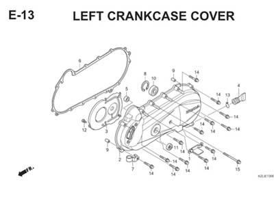 E13 Left Crankcase Cover Thumb