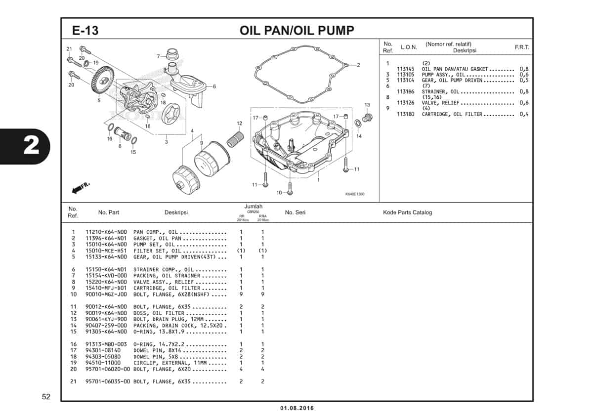 E13 Oil Pan Oil Pump