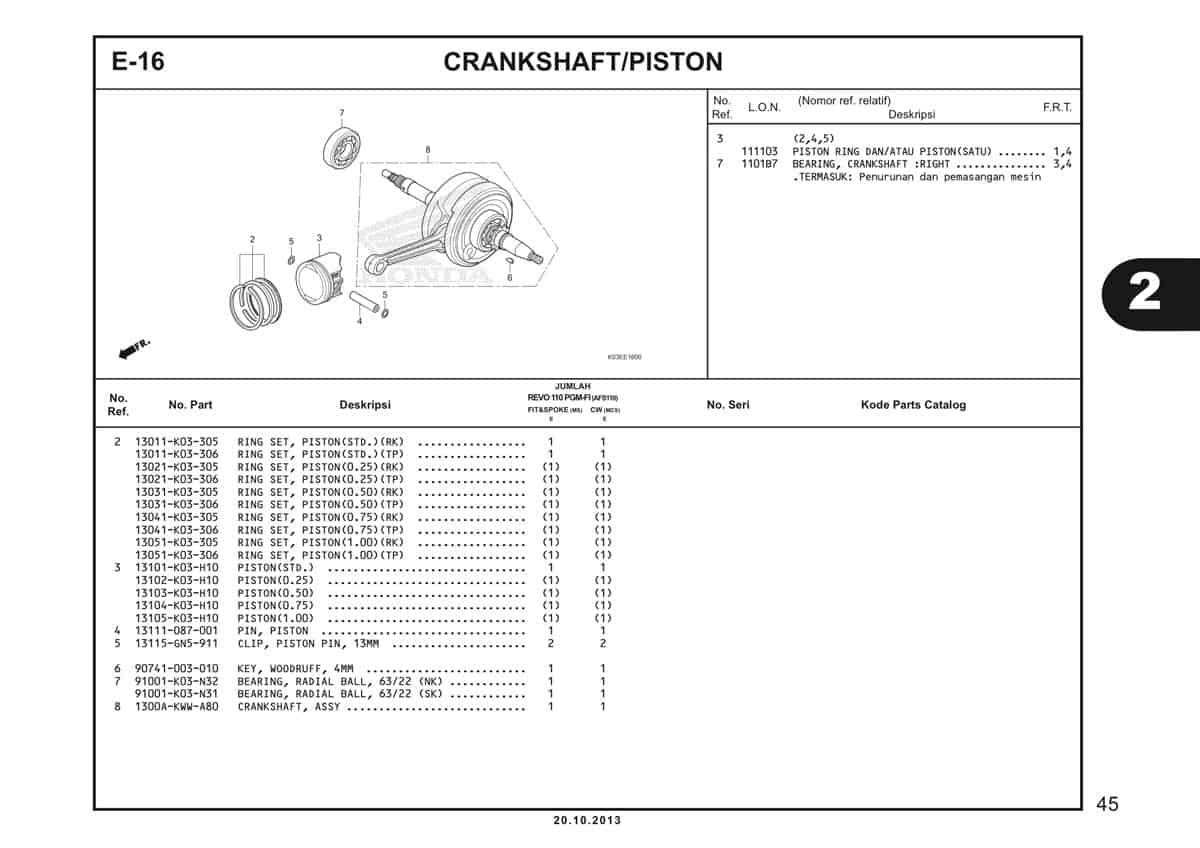 E16 Crankshaft Piston