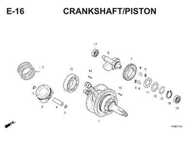 E16 Crankshaft Piston Thumb