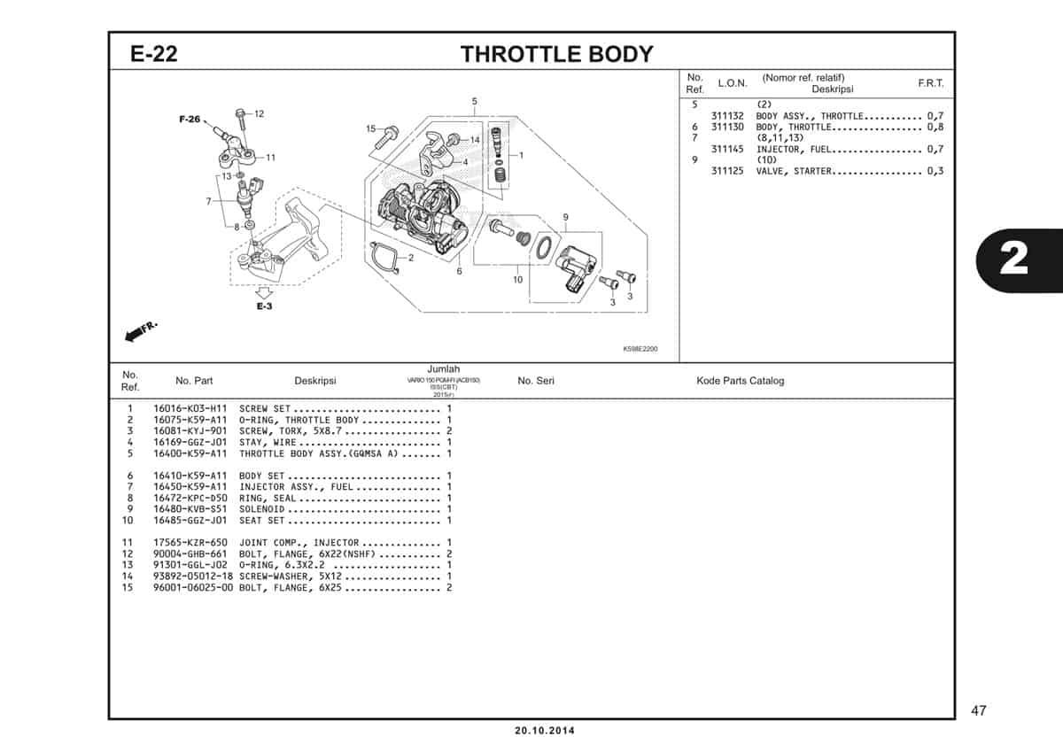 E22 Throttle Body Fuel Injector