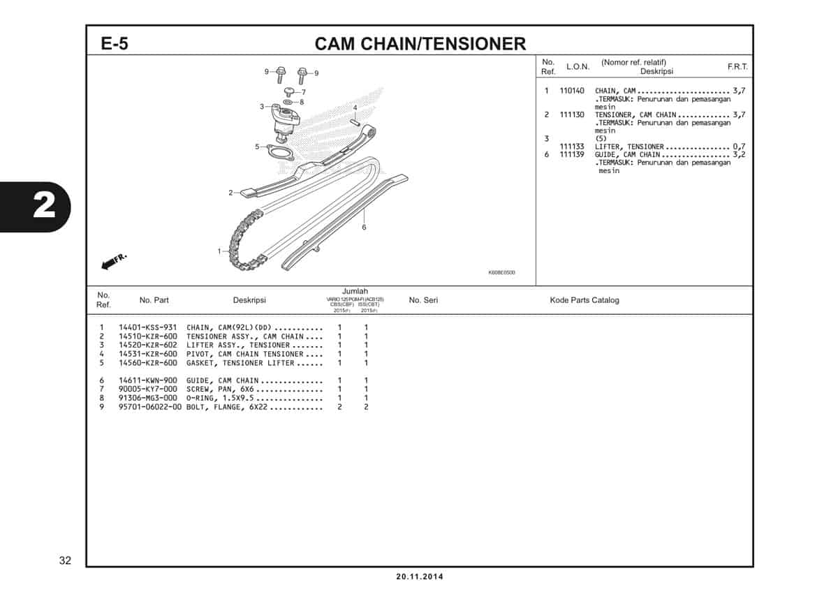 E5 Cam Chain Tensioner
