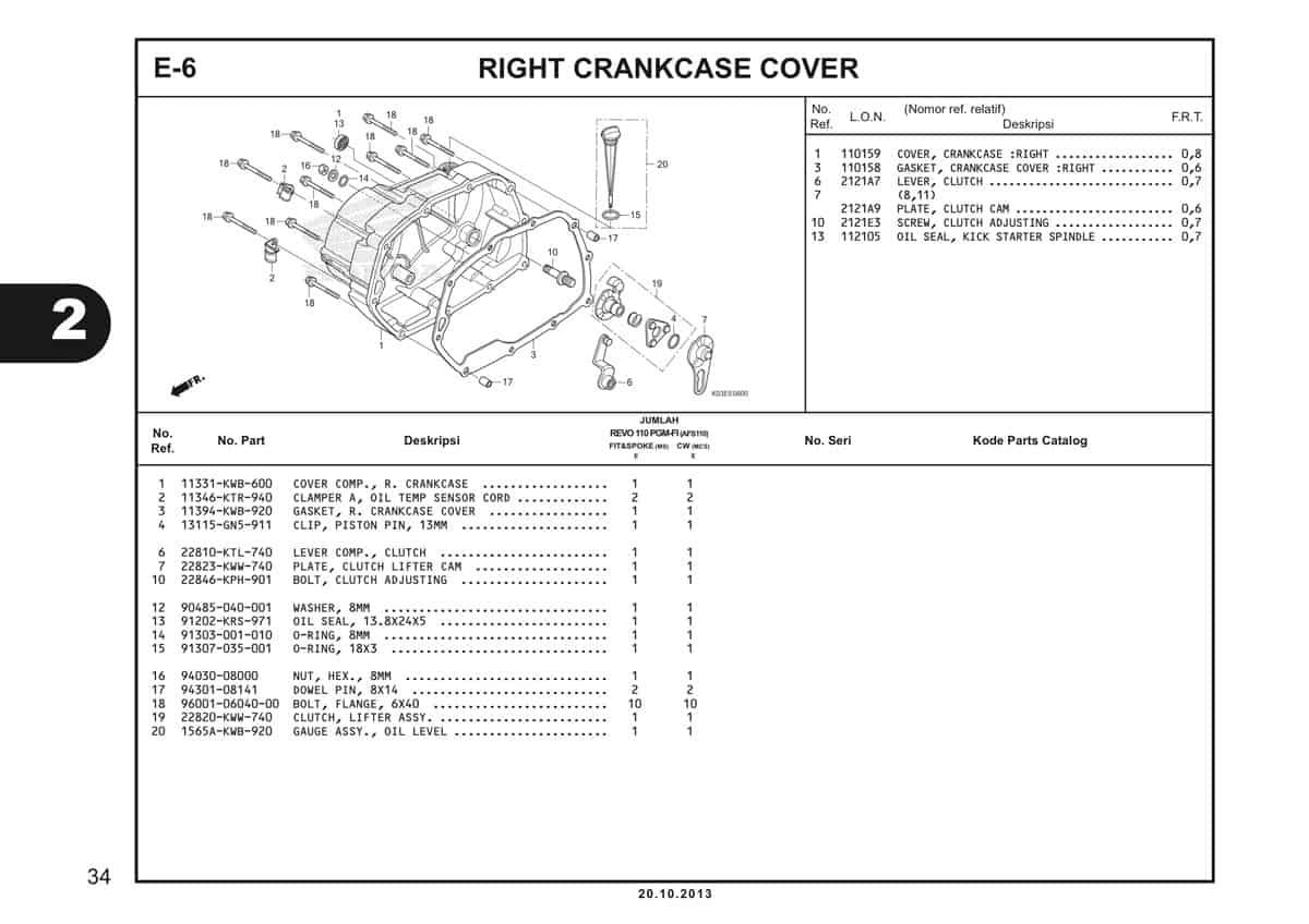 E6 Right Crankcase Cove