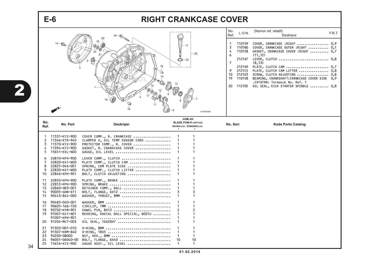 E6 Right Crankcase Cover Katalog Blade K47