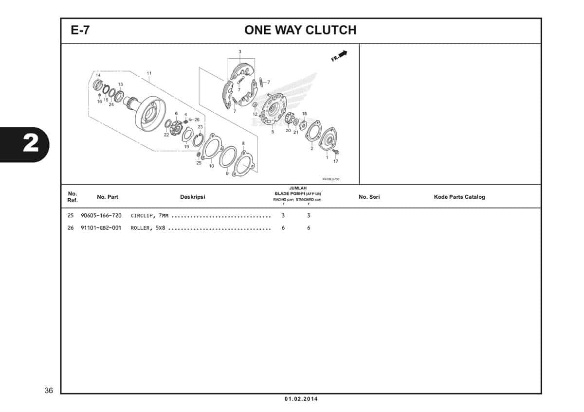 E7 One Way Clutch Katalog Blade K47 2