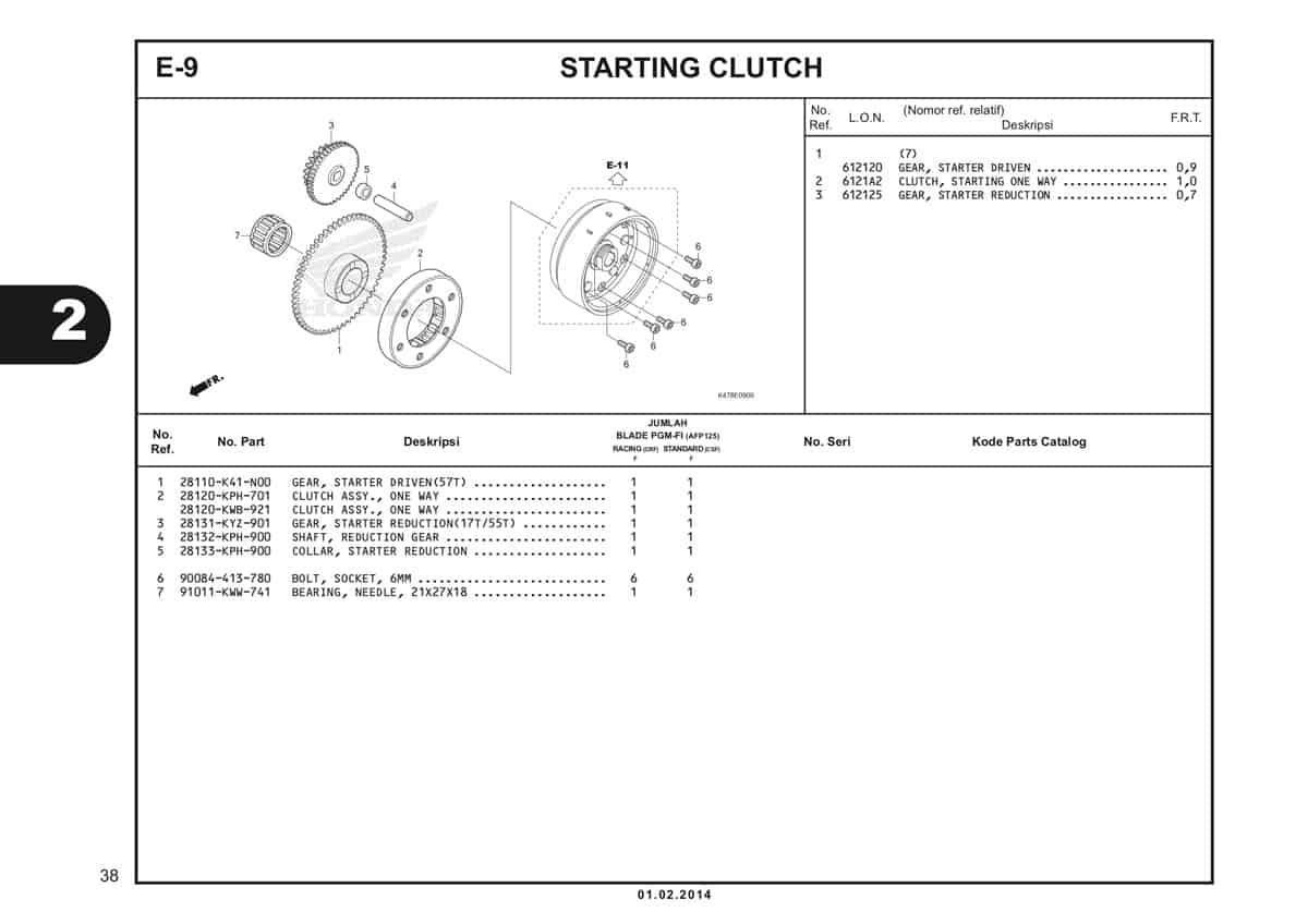 E9 Starting Clutch Katalog Blade K47