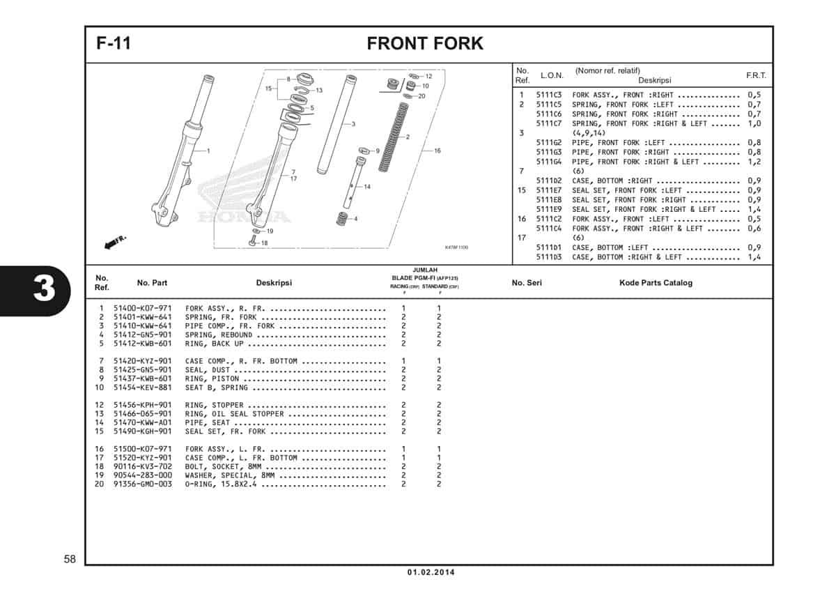 F11 Front Fork Katalog Blade K47