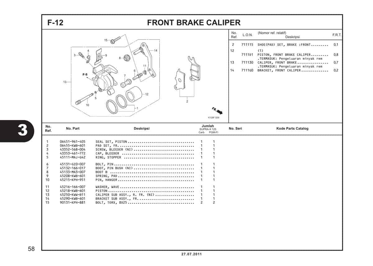F12 Front Brake Caliper