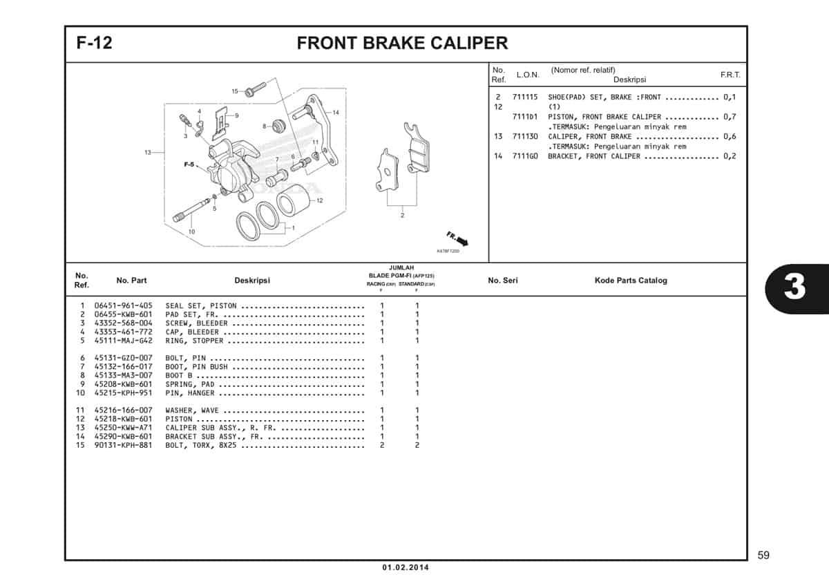 F12 Front Brake Caliper Katalog Blade K47