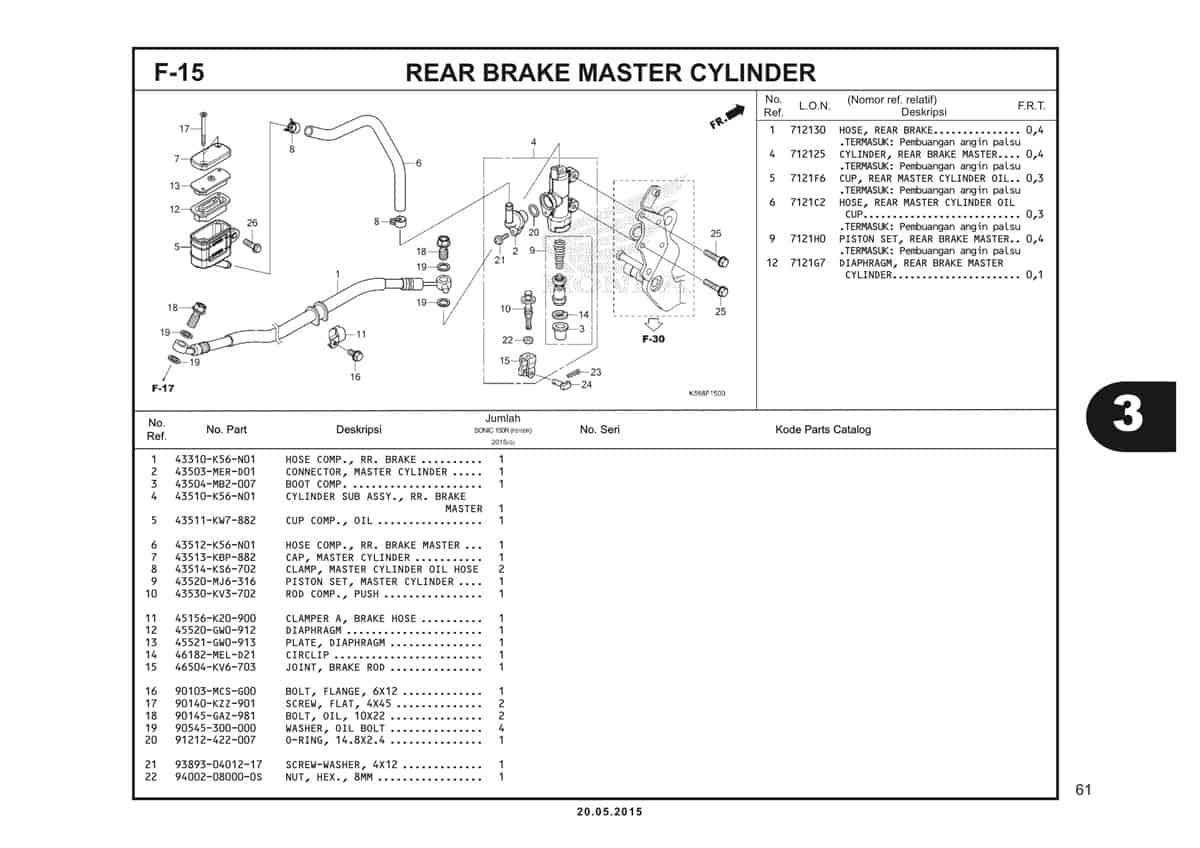 F15 Rear Brake Master Cylinder 1