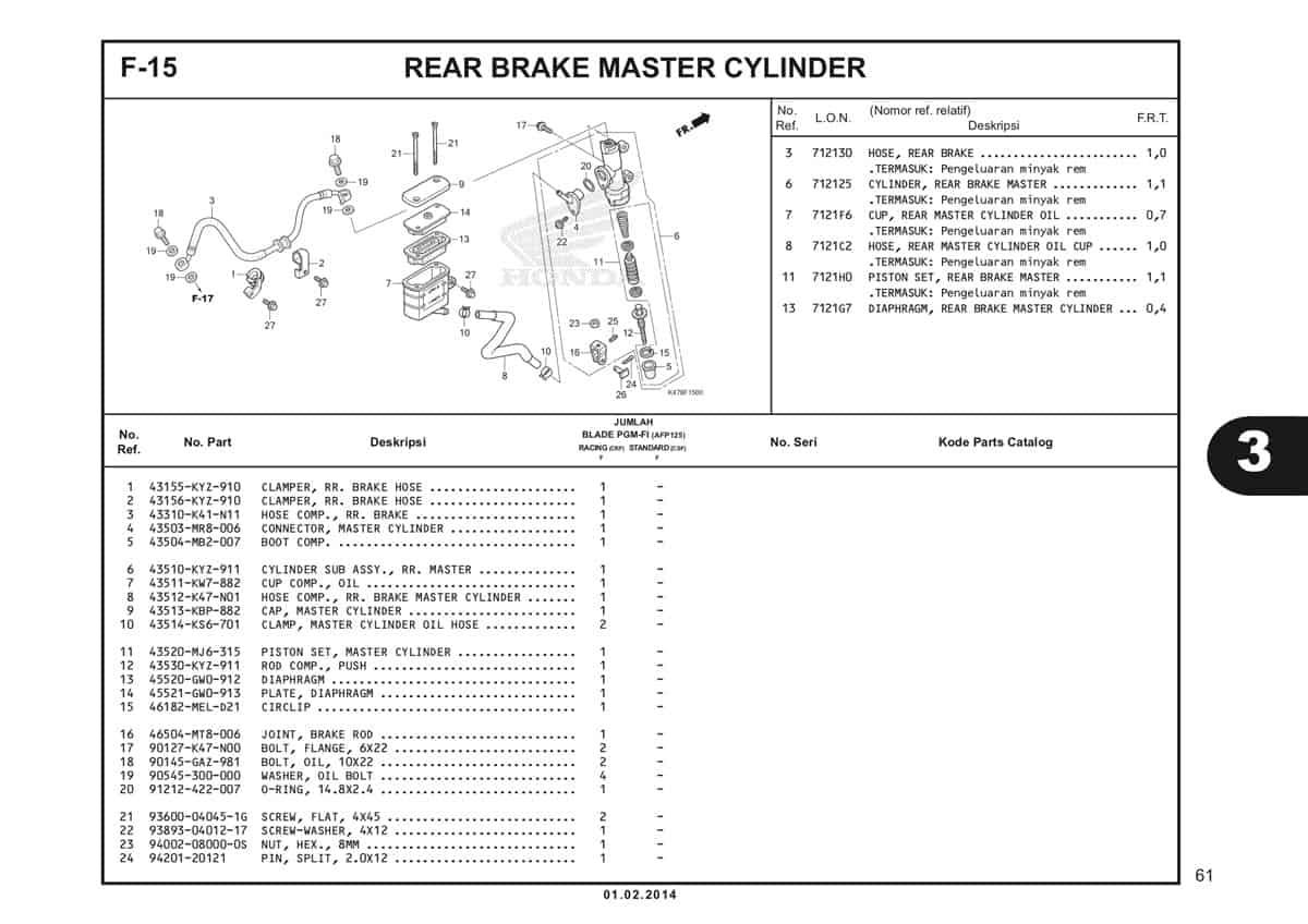 F15 Rear Brake Master Cylinder Katalog Blade K47 1