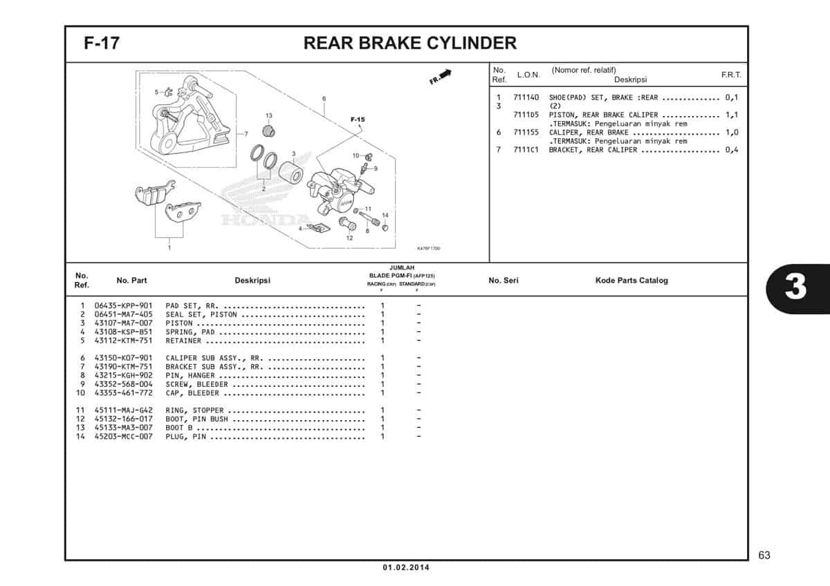 F17 Rear Brake Caliper Katalog Blade K47