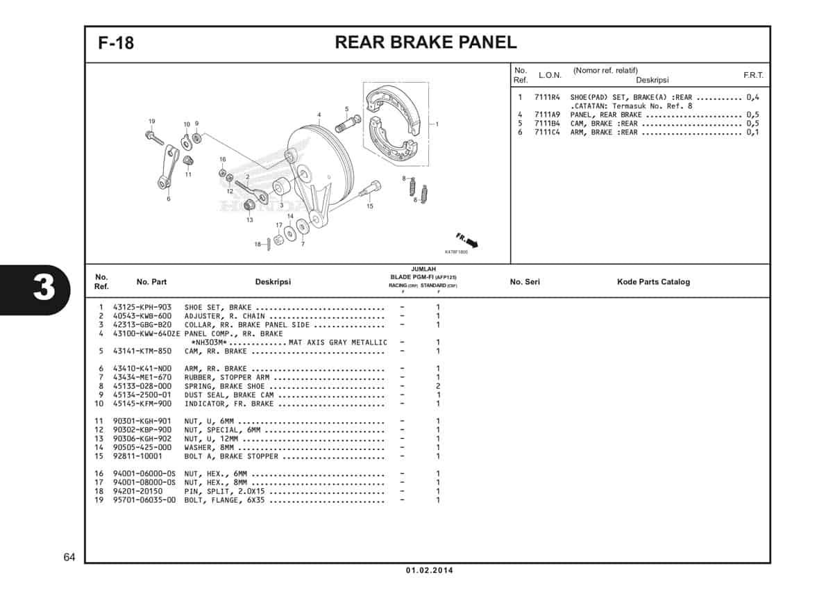 F18 Rear Brake Panel Katalog Blade K47