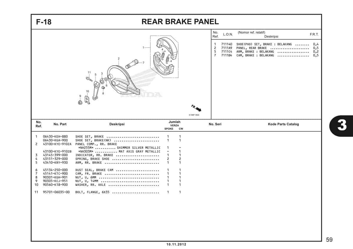 F18 Rear Brake Panel