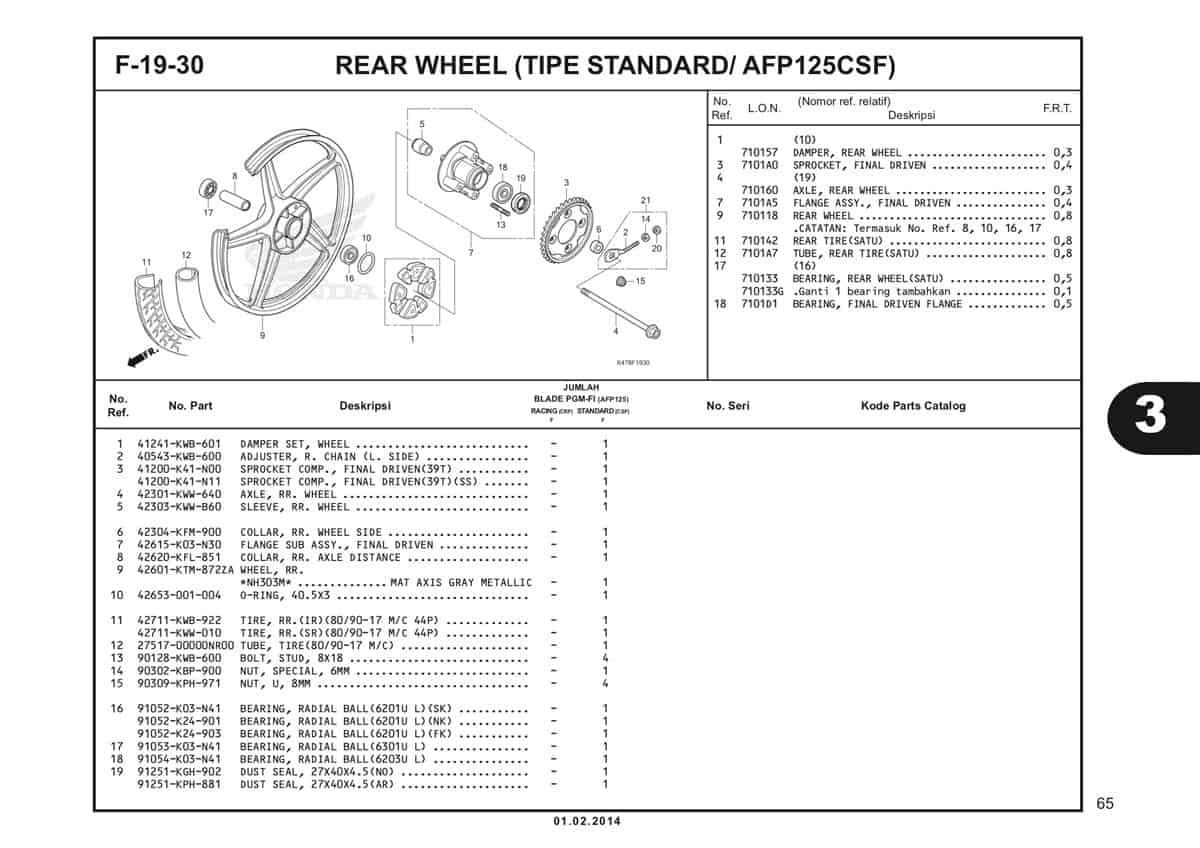 F19 30 Rear Wheel Katalog Blade K47 1