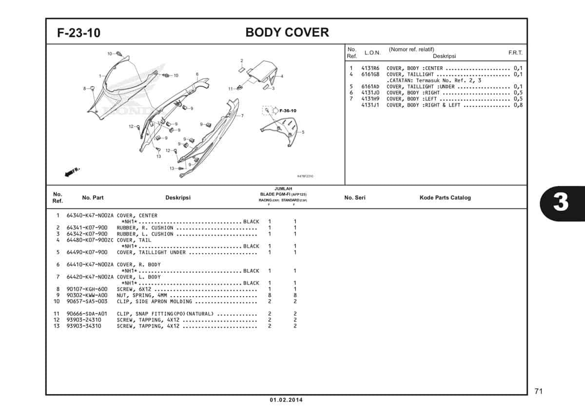 F23 10 Body Cover Katalog Blade K47