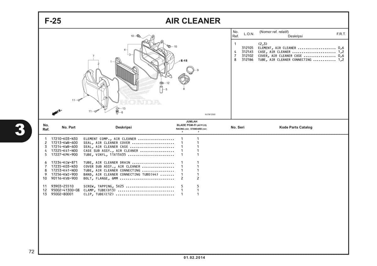 F25 Air Cleaner Katalog Blade K47