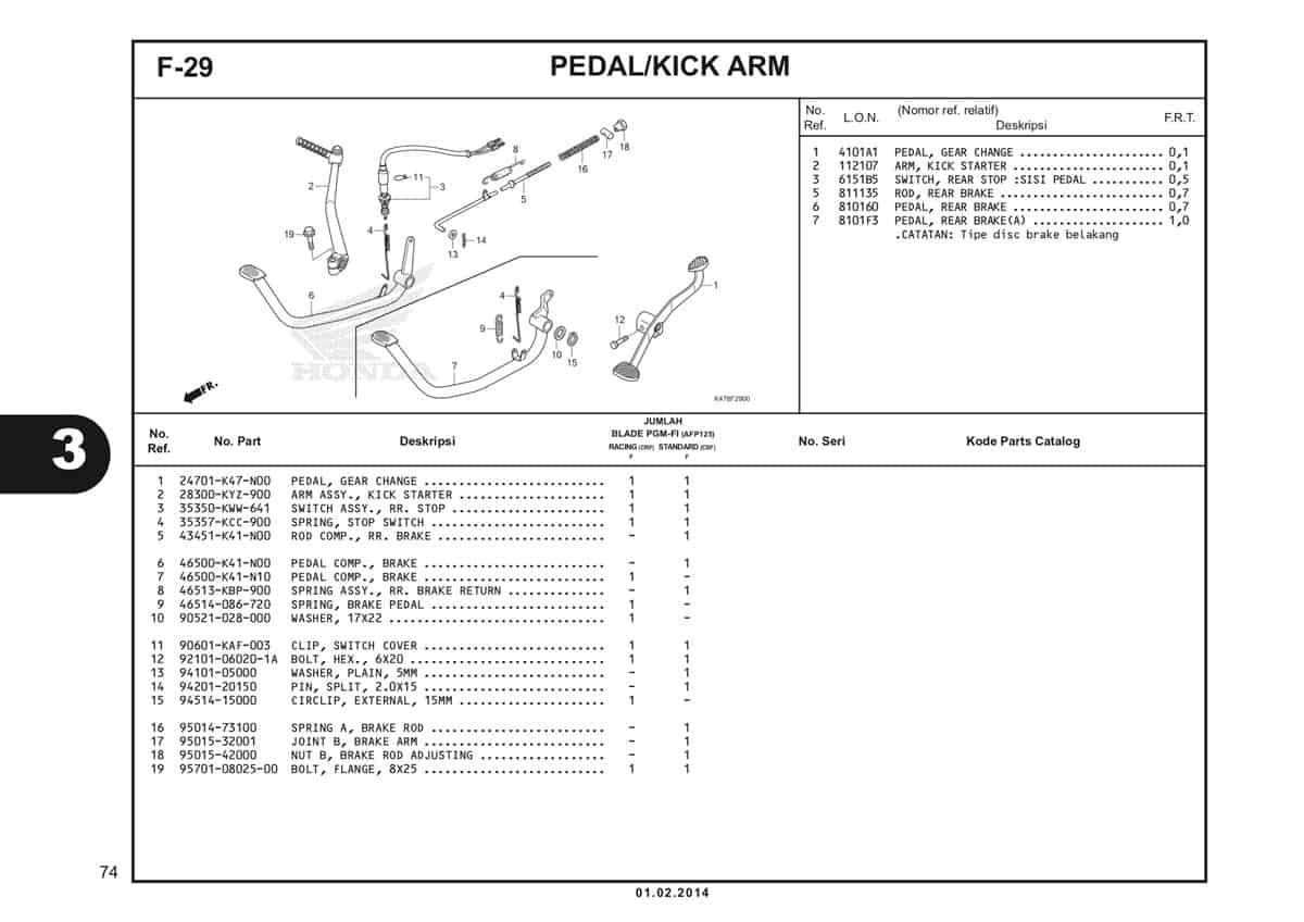 F29 Pedal Kick Arm Katalog Blade K47