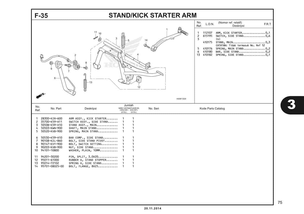 F35 Stand Kick Starter Arm