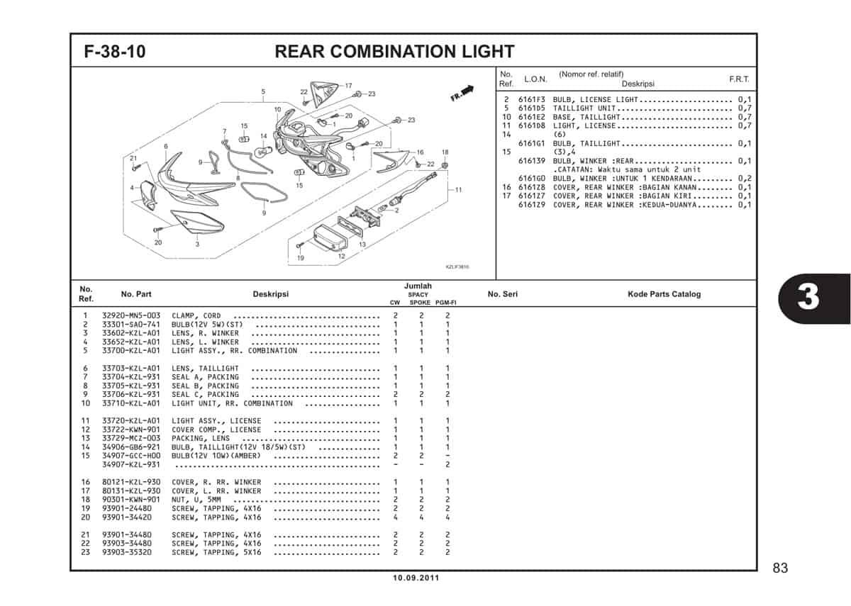 F38 10 Rear Combination Light