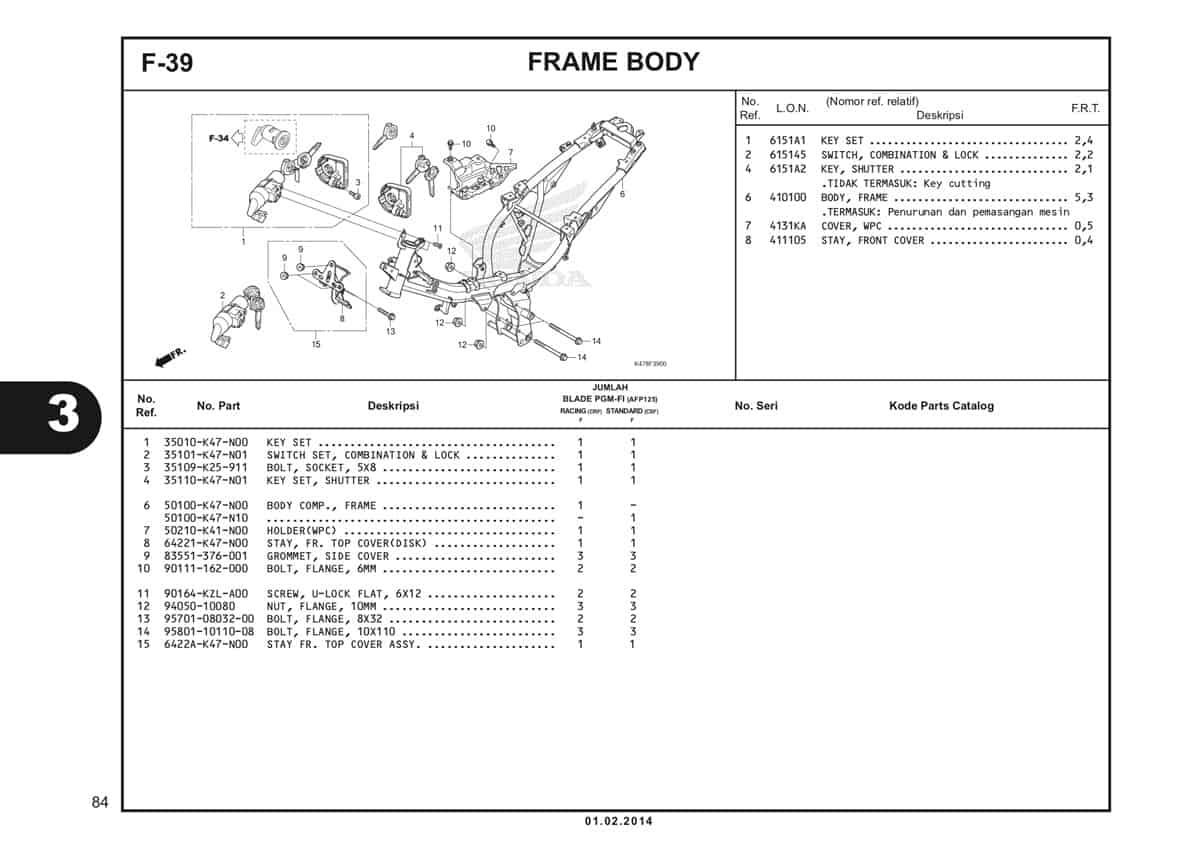 F39 Frame Body Katalog Blade K47