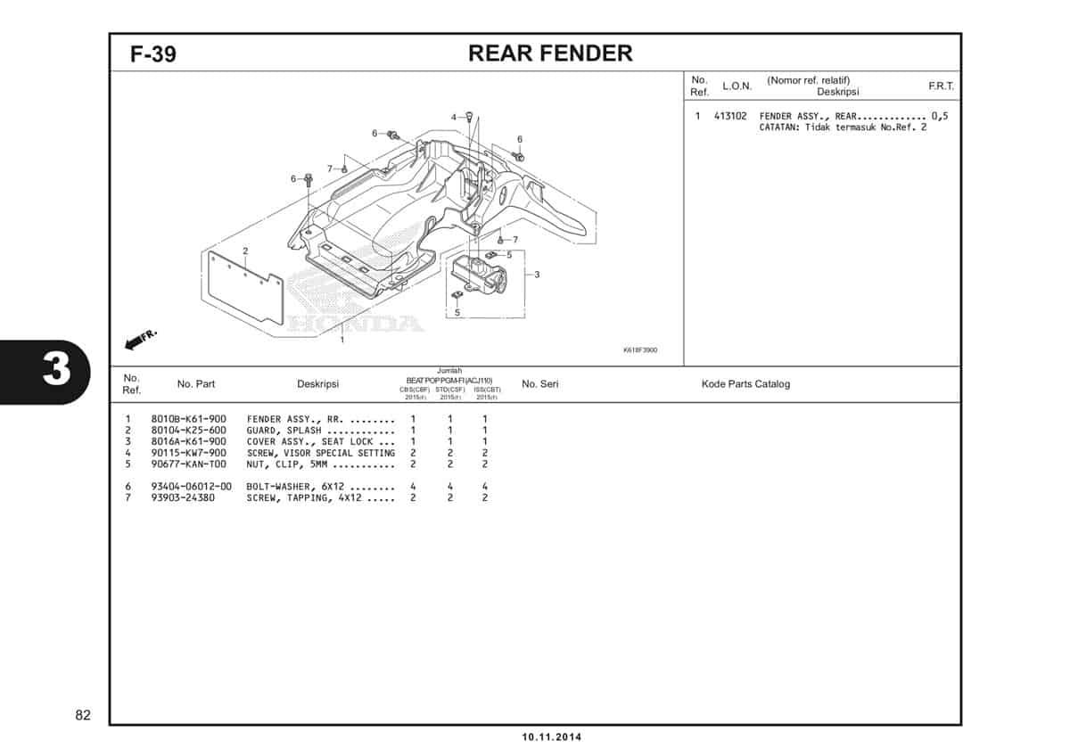 F39 Rear Fender