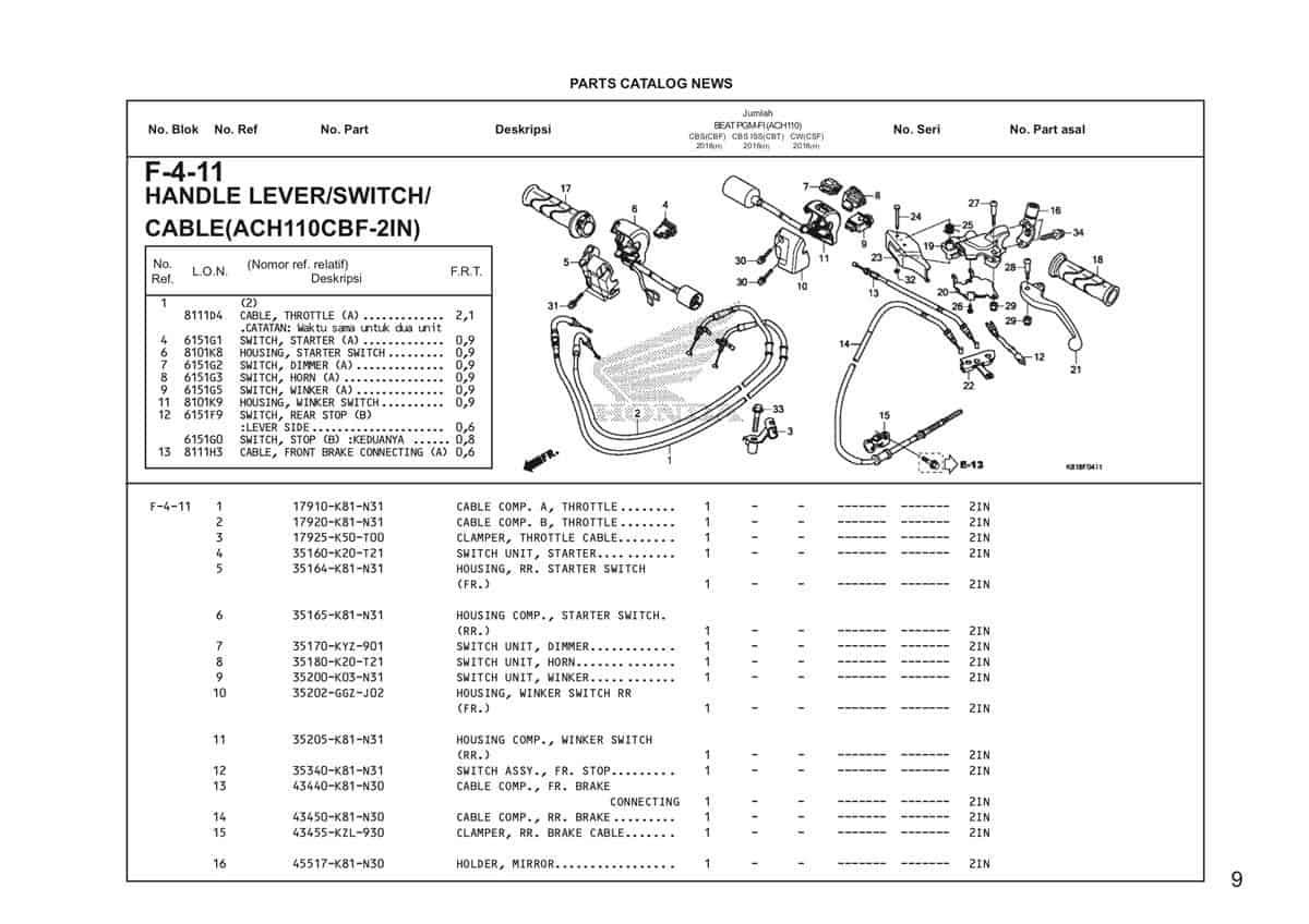 F4 11 Handle Lever Switch Cable Katalog Honda BeAT Street eSP Thumb