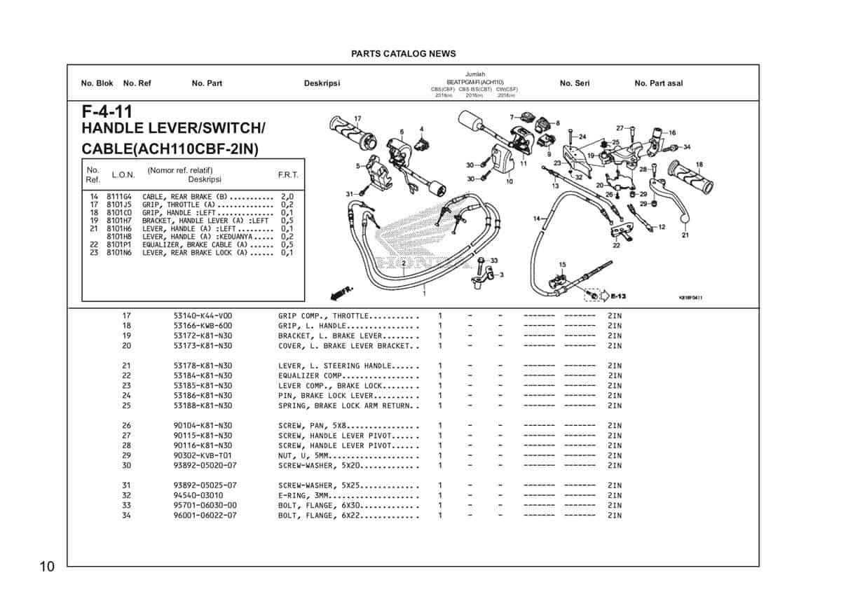 F4 11 Handle Lever Switch Cable Katalog Honda BeAT Street eSP 2