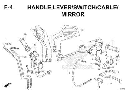 F4 Handle Lever Switch Cable Mirror Thumb
