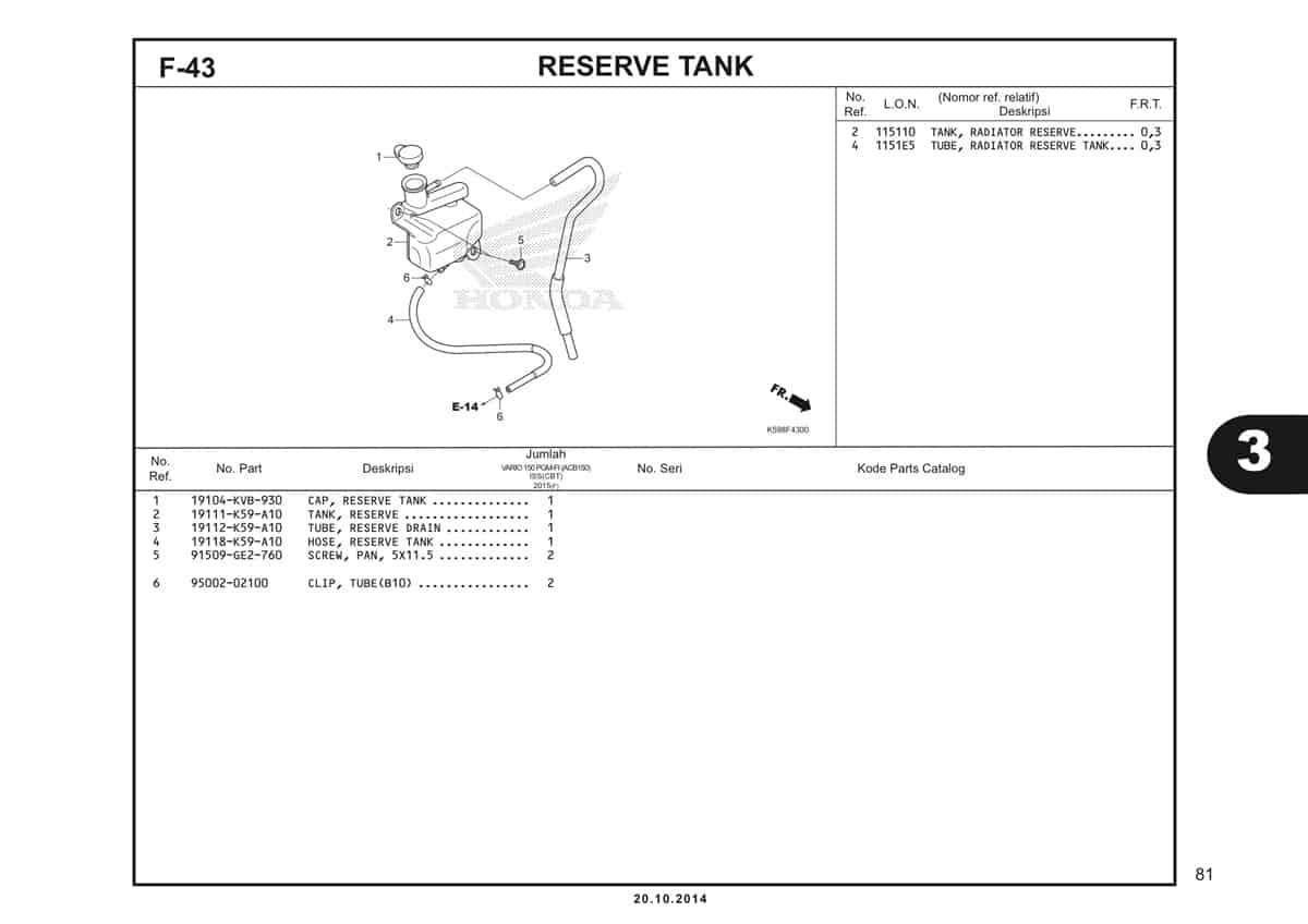 F43 Reserve Tank