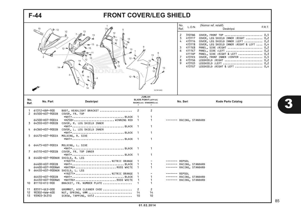 F44 Front Cover Leg Shield Katalog Blade K47 1