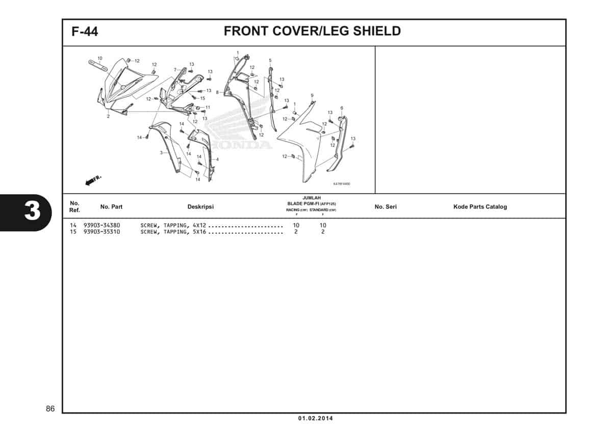 F44 Front Cover Leg Shield Katalog Blade K47 2