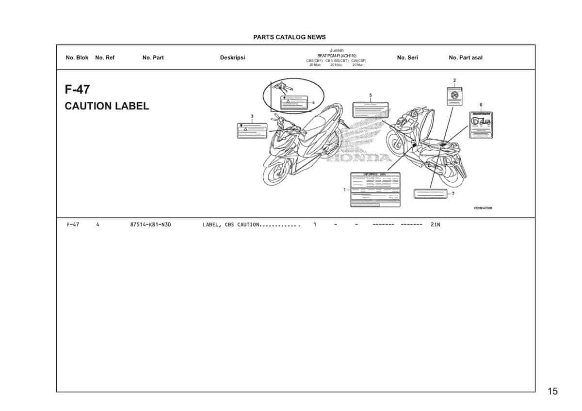 F47 – Caution Label – Katalog Honda BeAT Street eSP