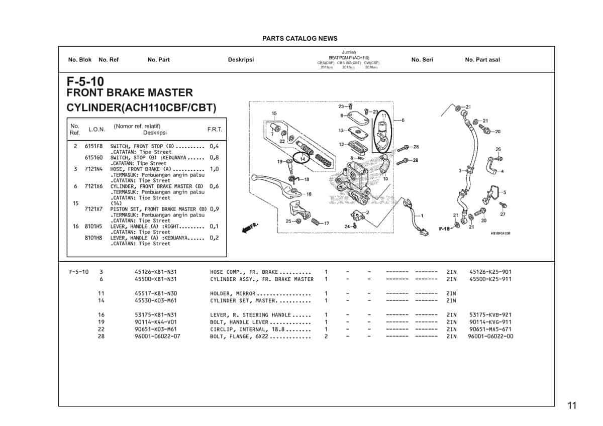 F5 10 Front Brake Master Cylinder Katalog Honda BeAT Street eSP
