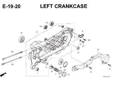 E19-20 – Left Crankcase – Katalog Honda Scoopy eSP K93