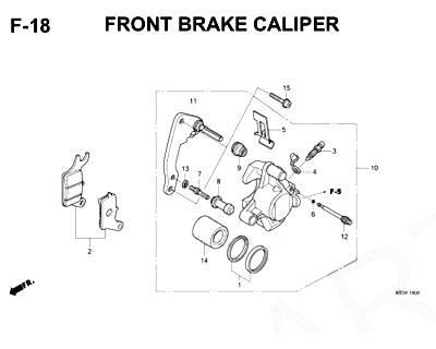 F18 – Front Brake Caliper – Katalog Honda Scoopy eSP K93