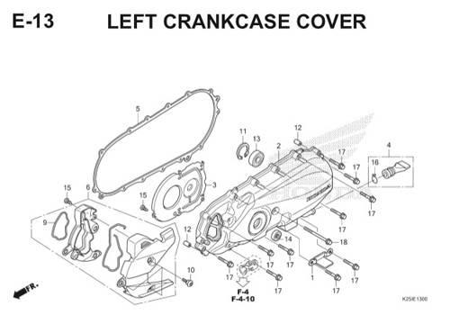 E13 Left Crankcase Cover BeAT eSP K25