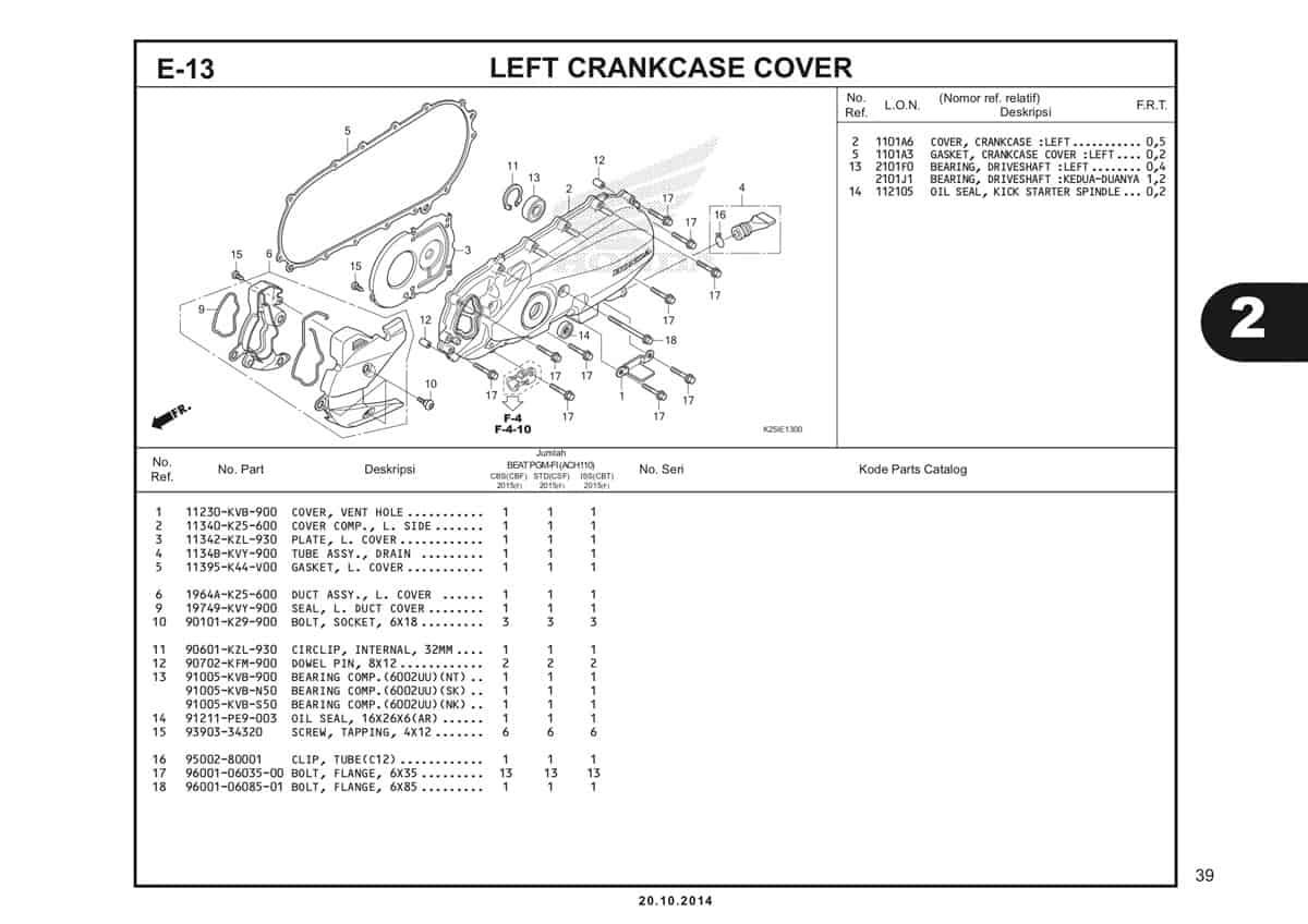 E13 Left Crankcase Cover Katalog BeAT eSP K25