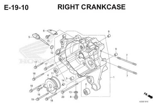 E19 10 Right Crankcase BeAT eSP K25