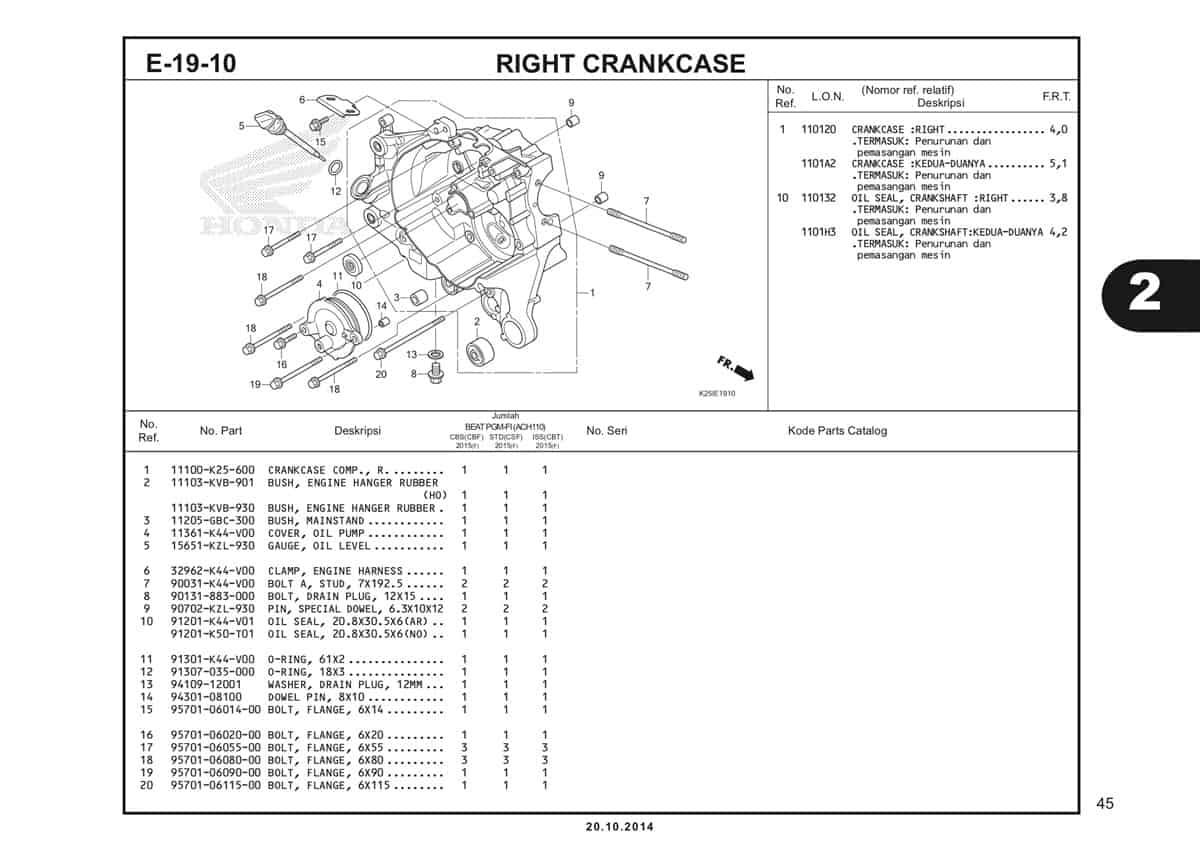 E19 10 Right Crankcase Katalog BeAT eSP K25